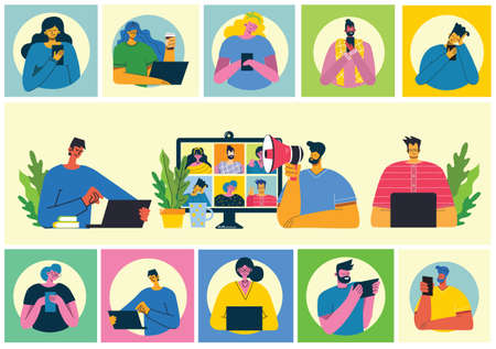 Webinar online concept illustration. People use video chat on desktop and laptop to make conference. Set of people business activity. Work remotely from home. Flat modern vector illustration. Illustration