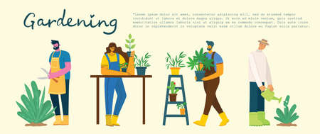 Young man and woman gardener holding a flower pot. Vector illustration background in a modern flat style