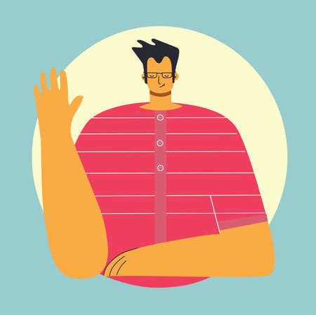 Man waving hands flat vector illustrations set. Smiling young man in casual clothing greeting gesture hi in the flat style Illustration