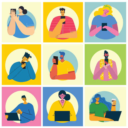 Set of different young people using mobile phones socializing on internet in the flat style Illustration