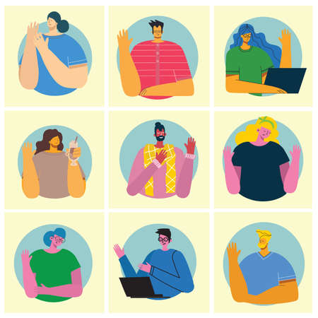 People waving hands flat vector illustrations set. Smiling young men and women in casual clothing greeting gesture hi in the flat style Illustration