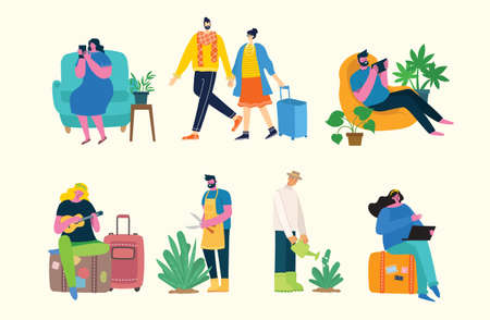 Vector illustration background in flat design of group people doing different activity in the flat style