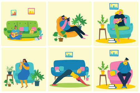 Take a break collage illustration. People have rest and drink coffee, use tablet on chair and sofa. Flat modern vector style.
