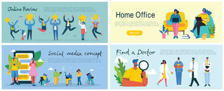 Online review, Home office, Social media and Find a doctor concept illustration in flat and clean design. Men and women use laptop and tablet in the modern flat design.