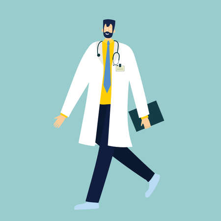Doctor on a white background. Vector illustration in modern flat style