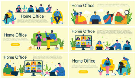 Home office. People at home in quarantine. Working at home, coworking space, Webinar, video conference concept vector modern flat style illustration