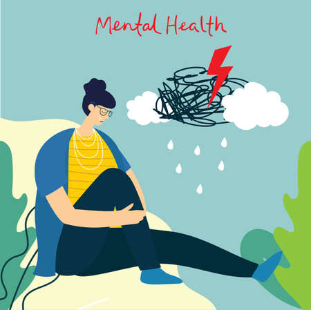 Woman with depression and storm in head. Mental health illustration concept. Psychology visual interpretation of mental health in the flat design