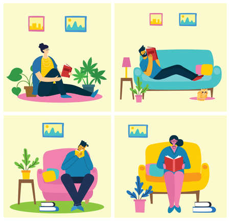 Vector concept illustrations of World Book Day, Reading the books and Book festival in the flat style. People sit, stand and walk and read a book in the flat style