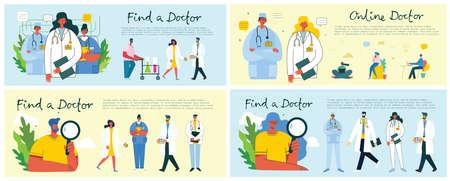 Find a doctor. Online doctor. Team doctors background. Vector illustration in modern flat style