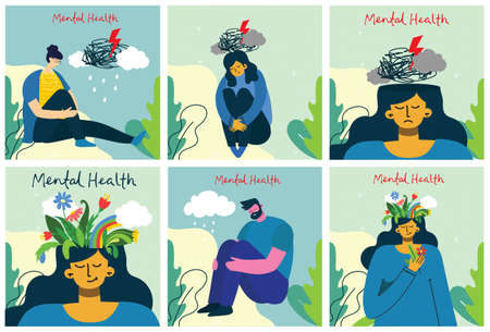 Mental health illustration concept. Young man and woman with storm in head. Psychology visual interpretation of mental health in the flat design