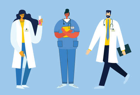 Team doctors on a white background. Vector illustration in modern flat style