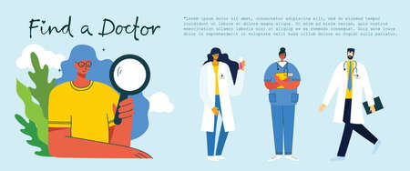 Find a doctor. Team doctors background. Vector illustration in modern flat style