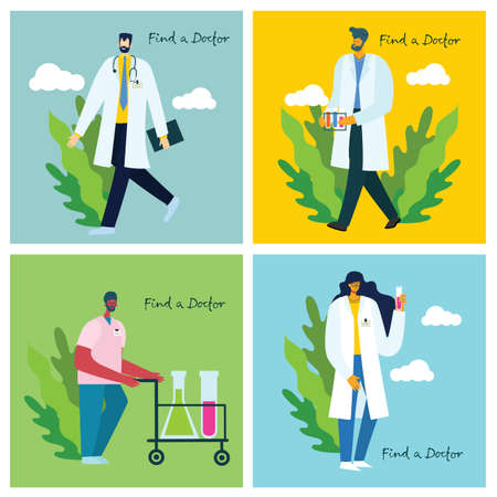 Find a doctor. Team doctors on a white background. Vector illustration in modern flat style Illustration