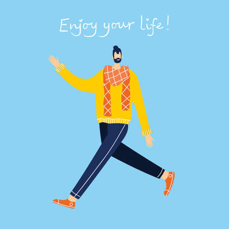 Enjoy your life. Concept of young people jumping on blue background and enjoing life in the modern flat design