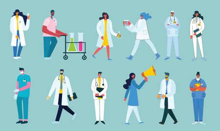 Team doctors on a blue background. Vector illustration in modern flat style Illustration