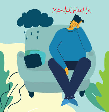 Man with depression and storm in head. Mental health illustration concept. Psychology visual interpretation of mental health in the flat design