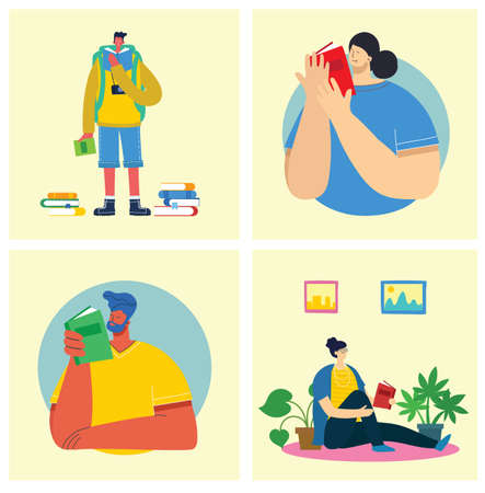 Vector flat illustration people learn and gain knowledge. The creative design of the schedule students learn on books. stylish vector for posters, banners, websites, booklets, flyers, cards Illustration
