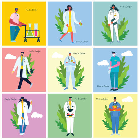 Find a doctor. Team doctors backgrounds. Vector illustration in modern flat style