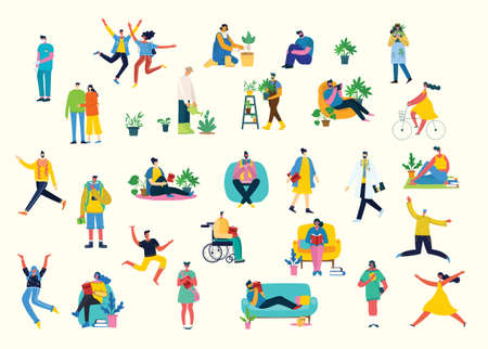 Vector illustration background in flat design of group people doing different activity Illustration