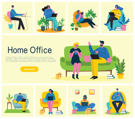 Home office. Working at home, coworking space, Webinar, video conference concept vector flat style illustration Illustration