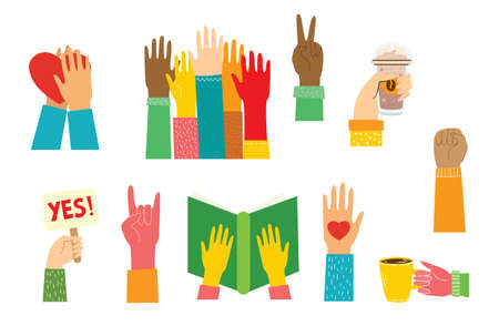 Big set of different hands illustrations. Strong together many hands up. Hand with book. Illustration