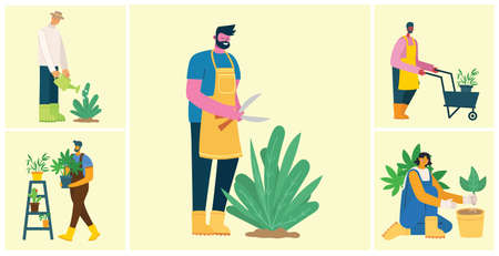 Young man and woman gardener holding a flower pot. Vector illustration in a flat style Illustration