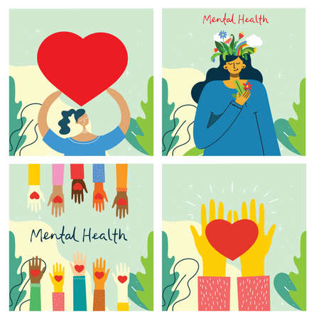 Mental health illustration concept. Psychology visual interpretation of mental health. Ilustração