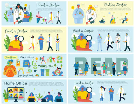 Home office, read books, Save the planet and Find a doctor concept illustration in flat and clean design. Illustration