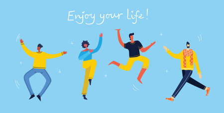 Enjoy your life. Concept of young people jumping on blue background and enjoing life in the flat design