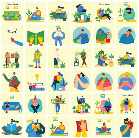 Take a break collage illustration. People have rest and drink coffee, use tablet on chair and sofa. Flat vector style. Illustration