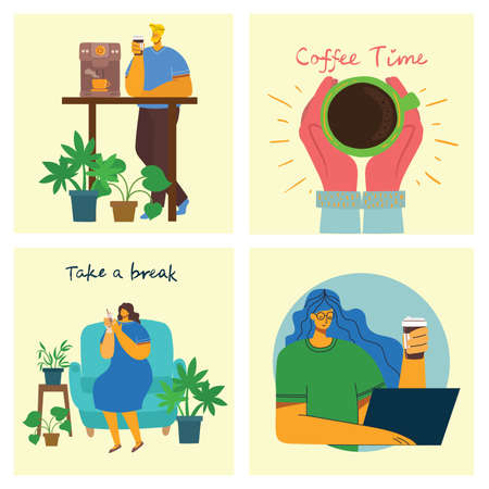 Coffee time, break and relaxation vector concept cards. Vector illustration in flat design style