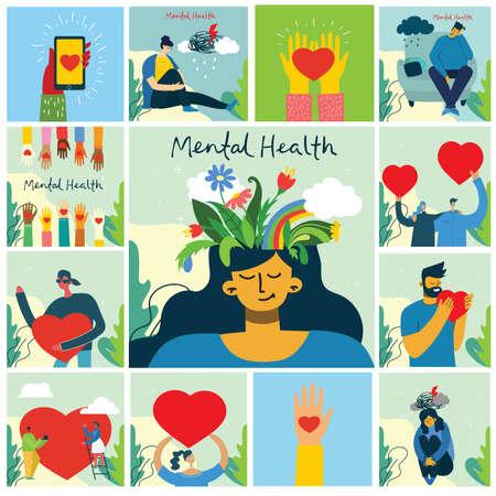 Mental health illustration concept. Psychology visual interpretation of mental health. Illustration