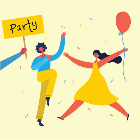 Vector cartoon illustration of Happy group of people celebrating, jumping on the party. The concept of friendship, healthy lifestyle, success, celebrating, party.