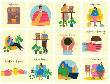 Coffee time, take a break and relaxation vector concept cards. Vector illustration in modern flat design style