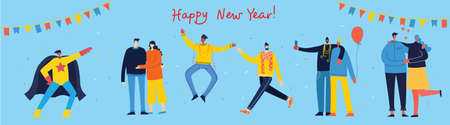 Happy New Year. Vector cartoon illustration of Happy group of people celebrating new year, jumping on the party. The concept of friendship, healthy lifestyle, success, celebrating, party. Ilustração