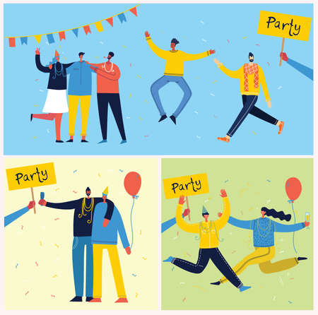 Vector cartoon illustration of Happy group of people celebrating, jumping on the party. The concept of friendship, healthy lifestyle, success, celebrating, party. Female flat characters Ilustração