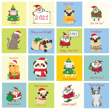 Vector illustration of christmas cats, pigs, rats and dogs with Christmas and new year greetings.