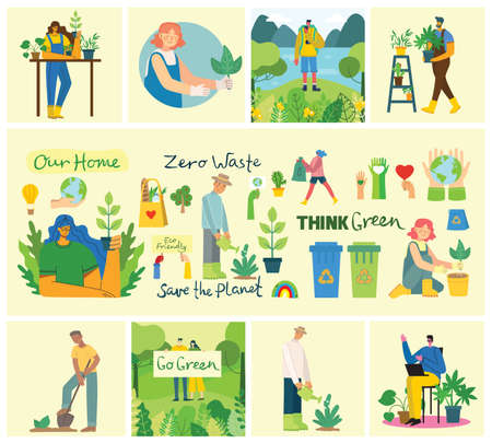 Set of eco save environment pictures. People taking care of planet collage. Zero waste, think green, save the planet, our home hand written text in the flat design Ilustração