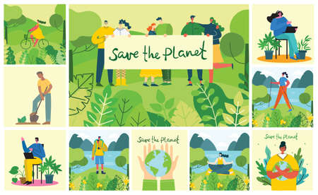 Set of eco save environment pictures. People taking care of planet collage.