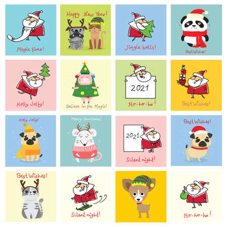 Christmas set of different Santa Clauses with christmas gifts, christmas tree, banners and other