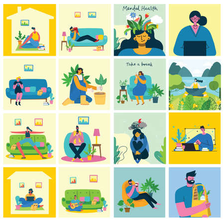 Stay and work at home. People staying at home doing different activity: seat at sofa, jump, work, celebrate, play, do sport, read at home. Vector colorful modern illustration collage