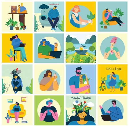 Stay and work at home. People staying at home doing different activity: seat at sofa, jump, work, celebrate, play, do sport, read at home. Vector colorful modern illustration collage in flat style.