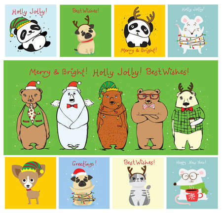 Vector illustration of christmas cats, bears, rats and dogs with Christmas and new year greetings. Cute pets with holiday hats and presents.