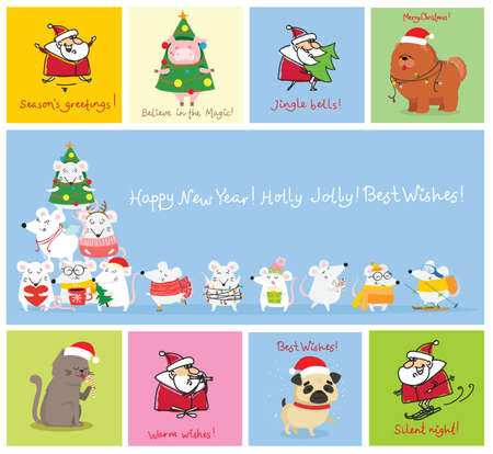 Vector illustration of christmas cats, pigs, rats and dogs with Christmas and new year greetings. Cute pets with holiday hats and presents.