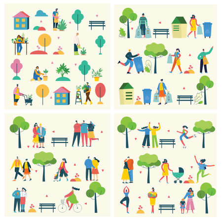 Vector illustration backgrounds of group people walking outdoor in the park on weekend in the flat style