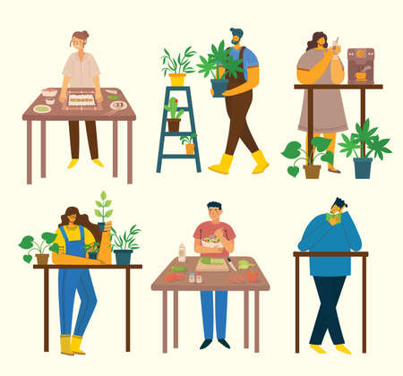 Stay and work at home. People staying at home doing different activity: cooking, gardening reading at home. Vector colorful modern illustration collage