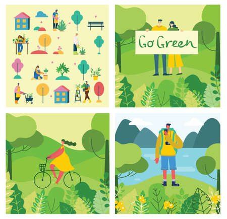 Vector set of village people with organic food, flowers and plants in the flat design