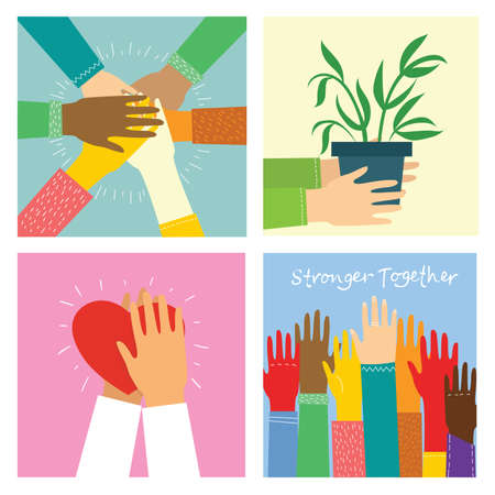 Big set of different hands illustrations. Strong together many hands up. Hand with book. Washing hands. Coffee time poster with mug. Team building. Hands holding hearts. Coffee, burger for breakfast.