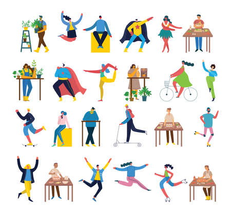 Vector illustration backgrounds in flat design of group people doing different activity in the flat style Ilustração