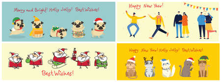 Vector illustration of christmas people and santa clause with Christmas and new year greetings in flat style